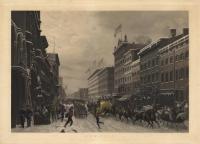 New-York -- Winter Scene in Broadway.  Scene d'Hiver dans Broadway.