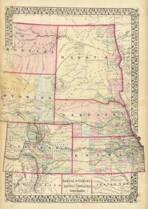 County Map Of Dakota Wyoming Kansas Nebraska And Colorado The